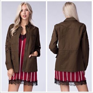 Honey Belle Olive Green Cut Out Sleeve Jacket